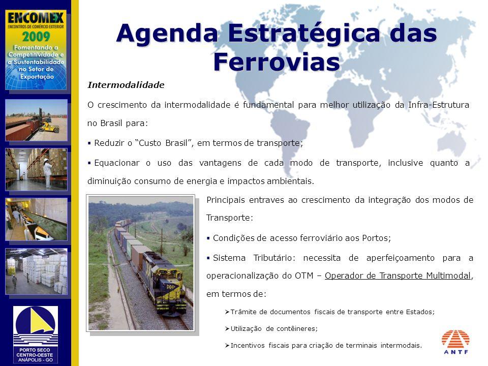 Agenda Estratégica das Ferrovias Intermodalidade O crescimento da intermodalidade é fundamental para melhor utilização da Infra-Estrutura no Brasil pa