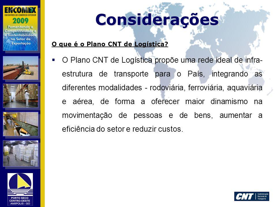 Considerações O que é o Plano CNT de Logística? O Plano CNT de Logística propõe uma rede ideal de infra- estrutura de transporte para o País, integran