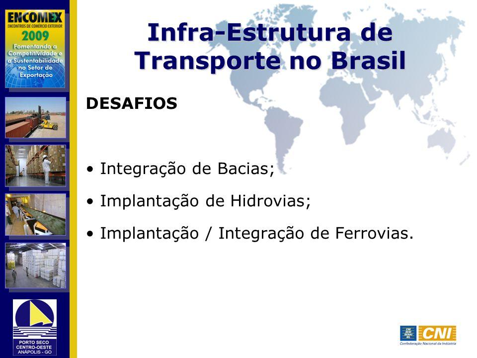 Infra-Estrutura de Transporte no Brasil DESAFIOS Integração de Bacias; Implantação de Hidrovias; Implantação / Integração de Ferrovias.