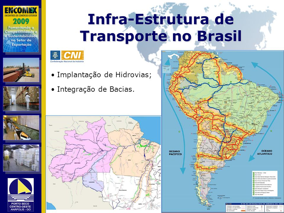 Infra-Estrutura de Transporte no Brasil Implantação de Hidrovias; Integração de Bacias.