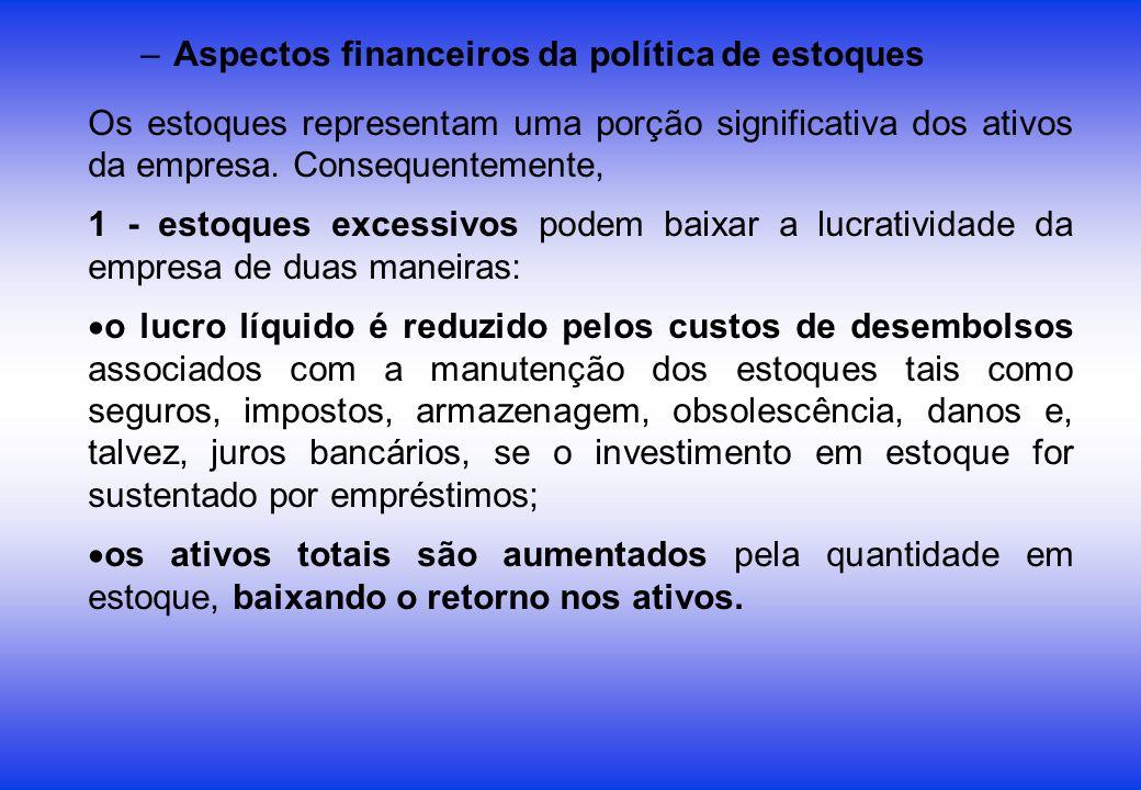 –Aspectos financeiros da política de estoques Os estoques representam uma porção significativa dos ativos da empresa. Consequentemente, 1 - estoques e