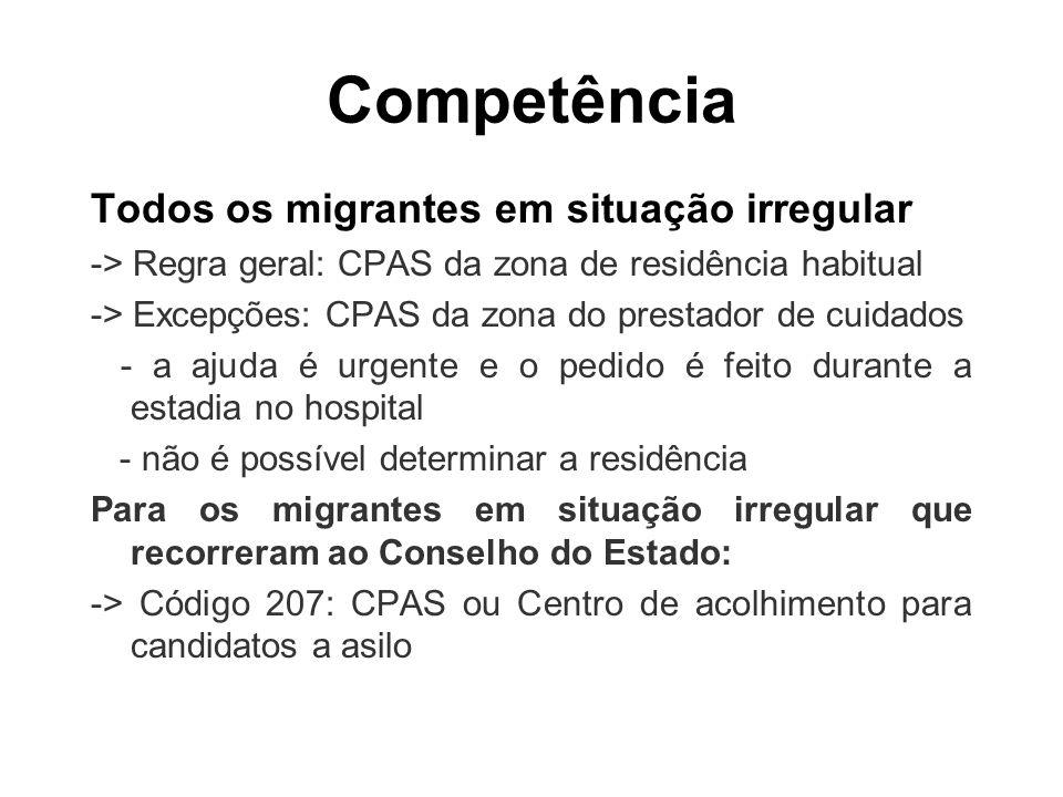 Competência Todos os migrantes em situação irregular -> Regra geral: CPAS da zona de residência habitual -> Excepções: CPAS da zona do prestador de cu