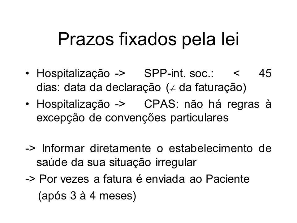 Prazos fixados pela lei Hospitalização ->SPP-int. soc.:< 45 dias: data da declaração ( da faturação) Hospitalização -> CPAS: não há regras à excepção