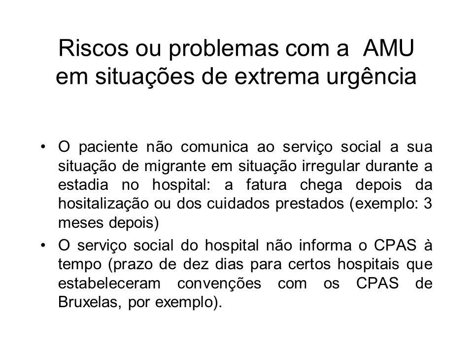 Riscos ou problemas com a AMU em situações de extrema urgência O paciente não comunica ao serviço social a sua situação de migrante em situação irregu