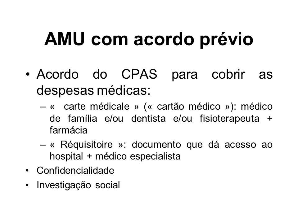 AMU com acordo prévio Acordo do CPAS para cobrir as despesas médicas: –« carte médicale » (« cartão médico »): médico de família e/ou dentista e/ou fi