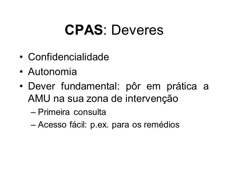 CPAS: Deveres Confidencialidade Autonomia Dever fundamental: pôr em prática a AMU na sua zona de intervenção –Primeira consulta –Acesso fácil: p.ex. p