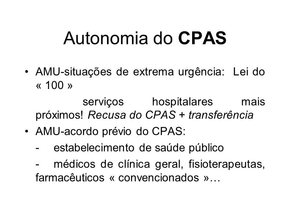 Autonomia do CPAS AMU-situações de extrema urgência: Lei do « 100 » serviços hospitalares mais próximos! Recusa do CPAS + transferência AMU-acordo pré