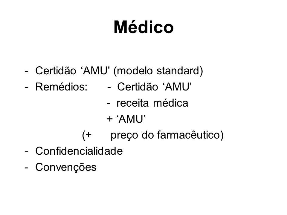 Médico -Certidão AMU' (modelo standard) -Remédios: - Certidão AMU' - receita médica + AMU (+ preço do farmacêutico) -Confidencialidade -Convenções