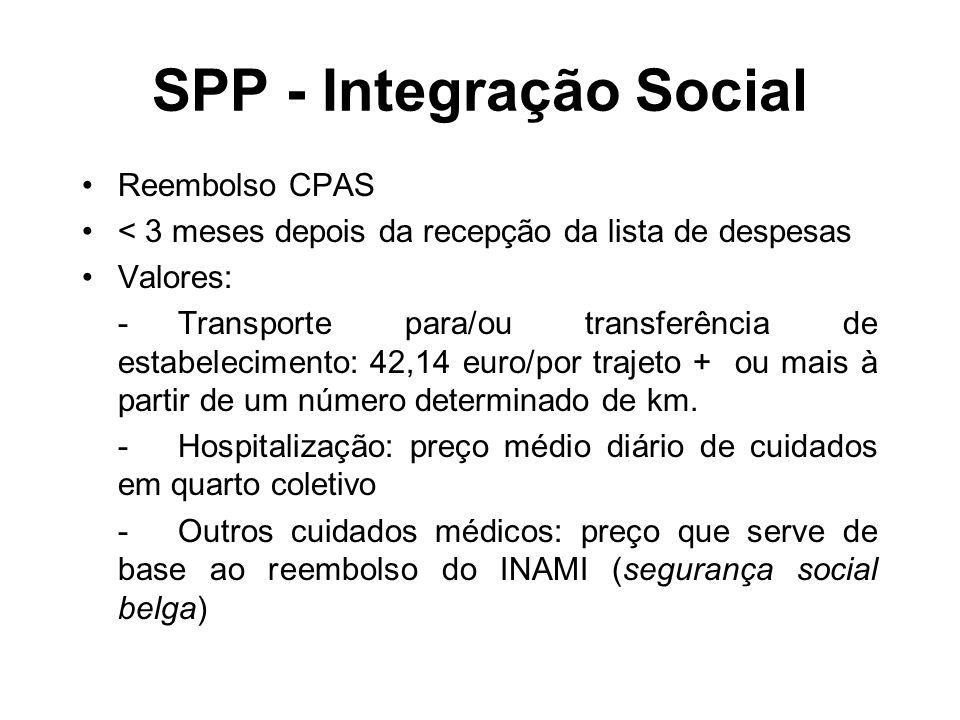 SPP - Integração Social Reembolso CPAS < 3 meses depois da recepção da lista de despesas Valores: -Transporte para/ou transferência de estabelecimento