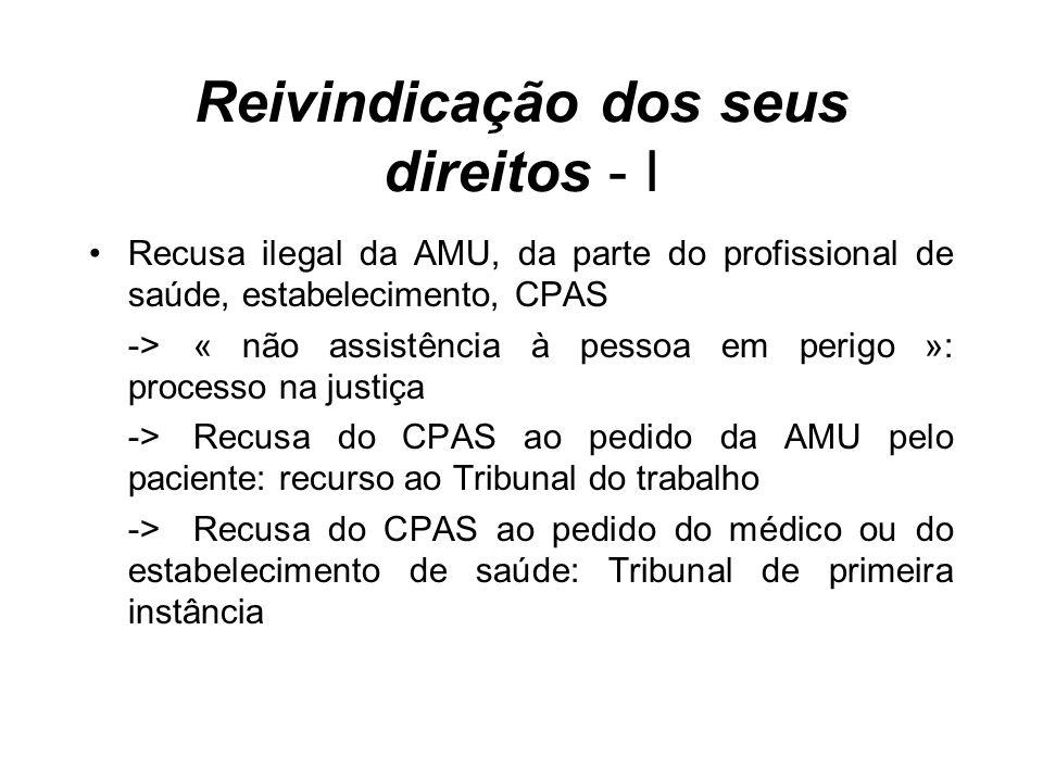 Reivindicação dos seus direitos - I Recusa ilegal da AMU, da parte do profissional de saúde, estabelecimento, CPAS ->« não assistência à pessoa em per