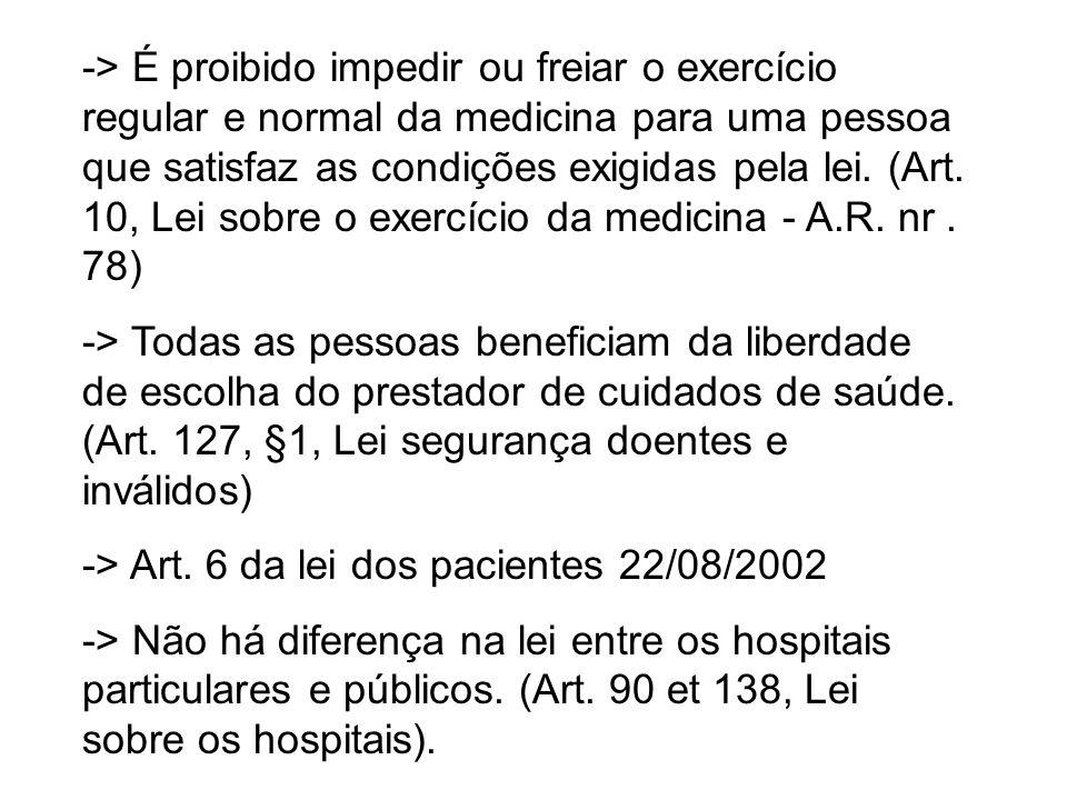 -> É proibido impedir ou freiar o exercício regular e normal da medicina para uma pessoa que satisfaz as condições exigidas pela lei. (Art. 10, Lei so