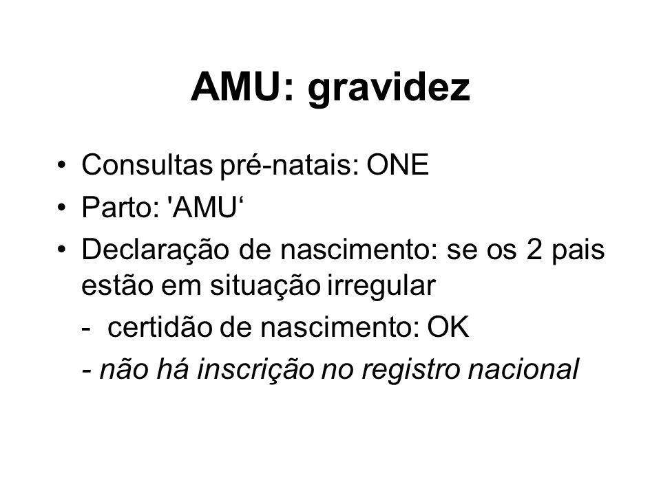 AMU: gravidez Consultas pré-natais: ONE Parto: 'AMU Declaração de nascimento: se os 2 pais estão em situação irregular - certidão de nascimento: OK -