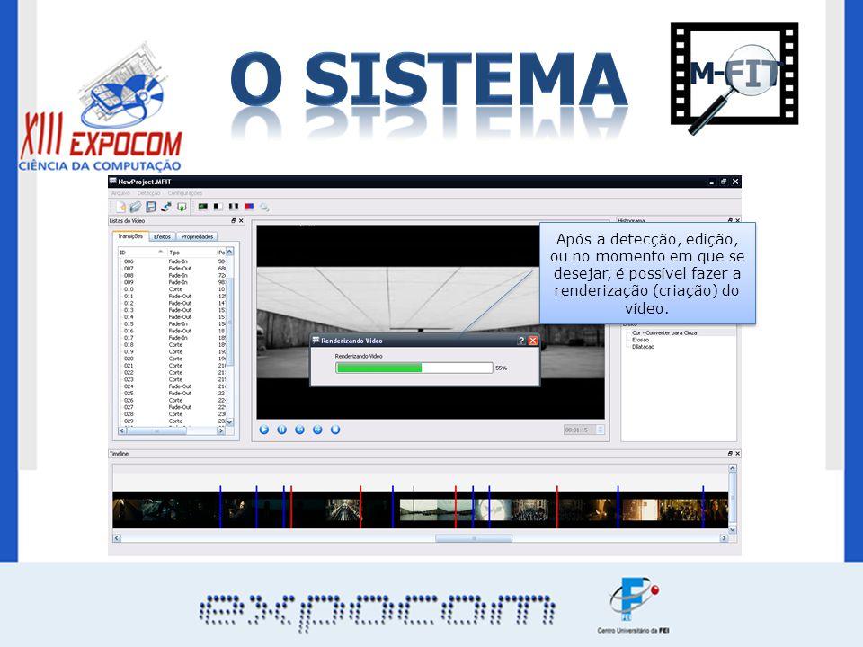 Após a detecção, edição, ou no momento em que se desejar, é possível fazer a renderização (criação) do vídeo.