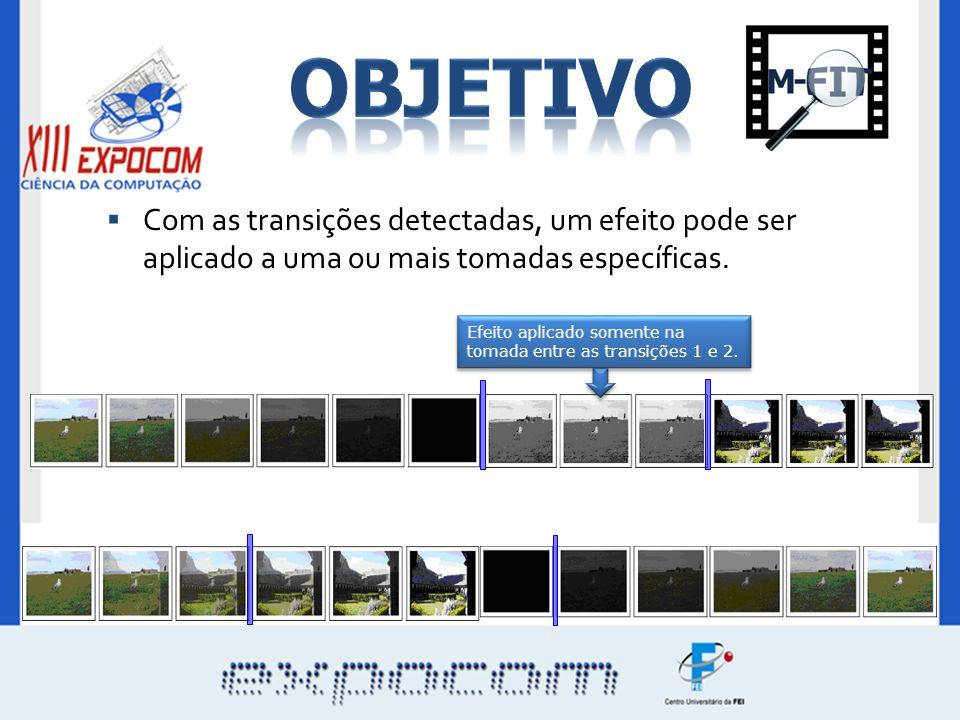 Com as transições detectadas, um efeito pode ser aplicado a uma ou mais tomadas específicas. Efeito aplicado somente na tomada entre as transições 1 e