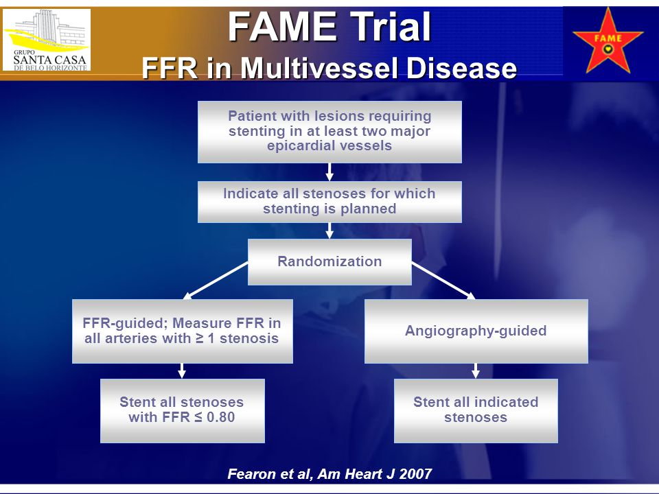 FAME Trial FFR in Multivessel Disease Patient with lesions requiring stenting in at least two major epicardial vessels Indicate all stenoses for which