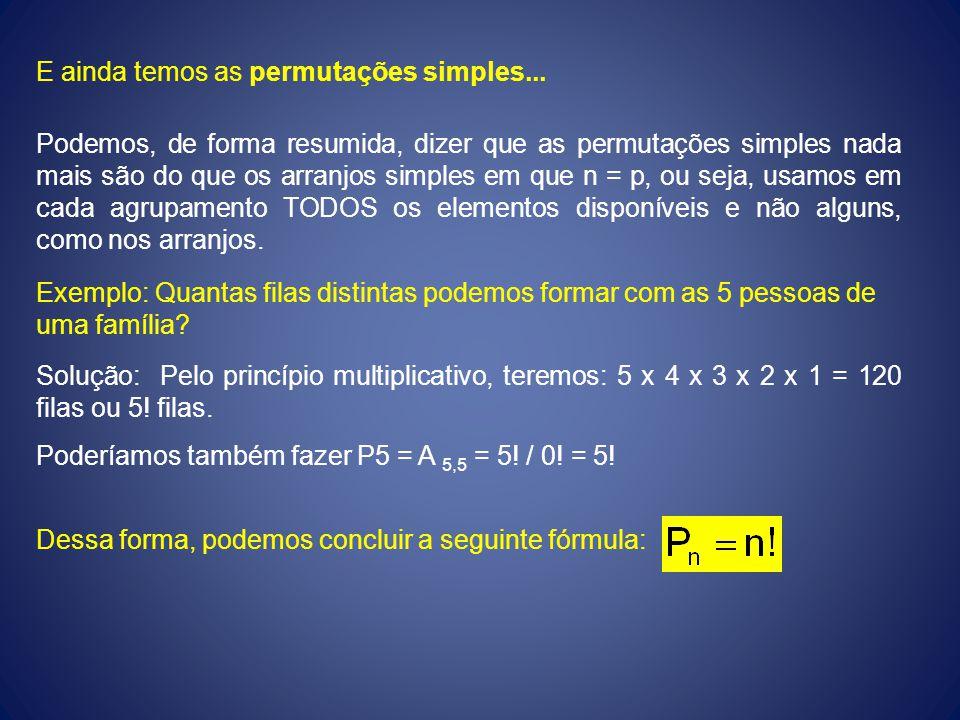 E ainda temos as permutações simples... Podemos, de forma resumida, dizer que as permutações simples nada mais são do que os arranjos simples em que n