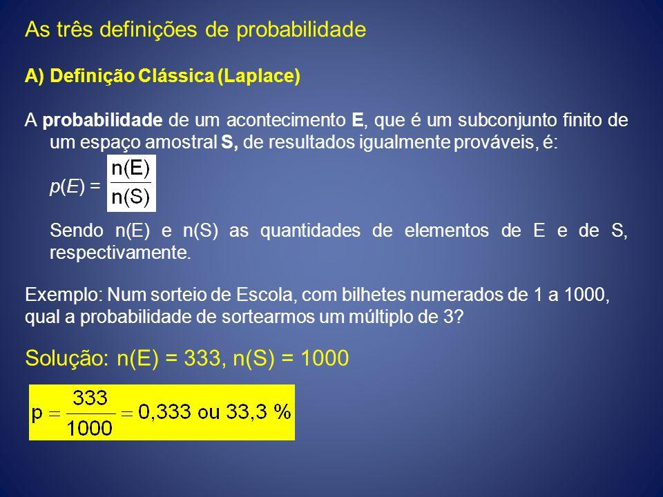 As três definições de probabilidade A)Definição Clássica (Laplace) A probabilidade de um acontecimento E, que é um subconjunto finito de um espaço amo
