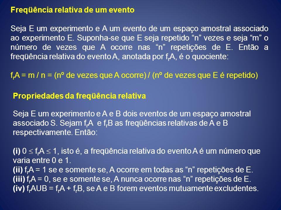 Freqüência relativa de um evento Seja E um experimento e A um evento de um espaço amostral associado ao experimento E. Suponha-se que E seja repetido