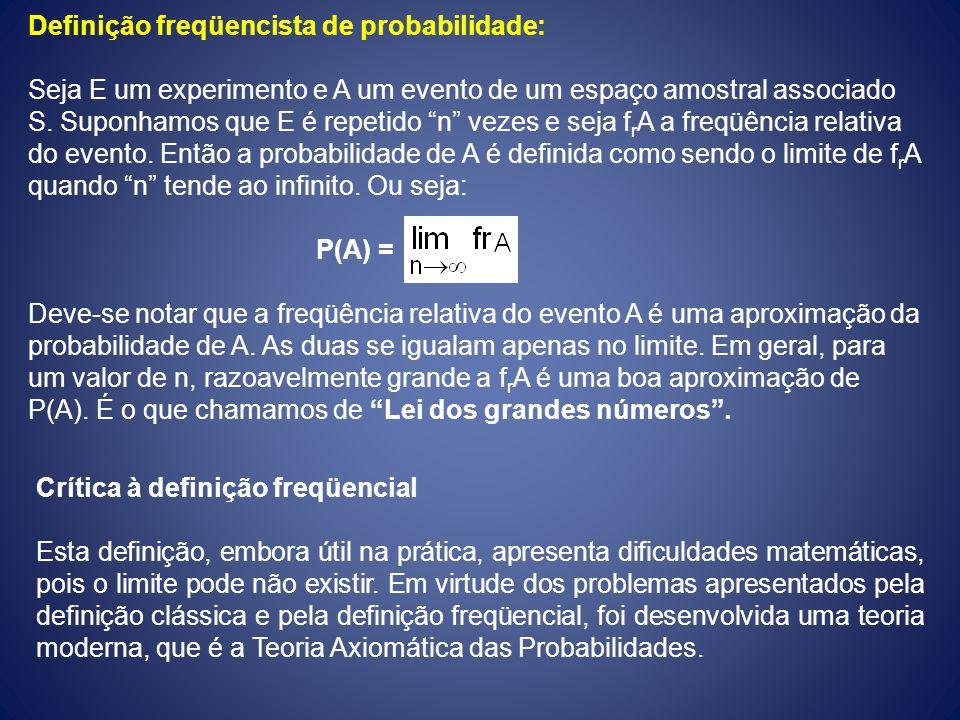 Definição freqüencista de probabilidade: Seja E um experimento e A um evento de um espaço amostral associado S. Suponhamos que E é repetido n vezes e