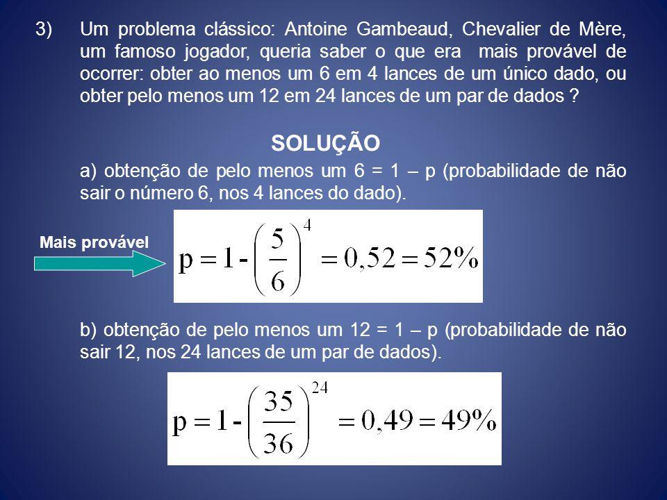 3) Um problema clássico: Antoine Gambeaud, Chevalier de Mère, um famoso jogador, queria saber o que era mais provável de ocorrer: obter ao menos um 6