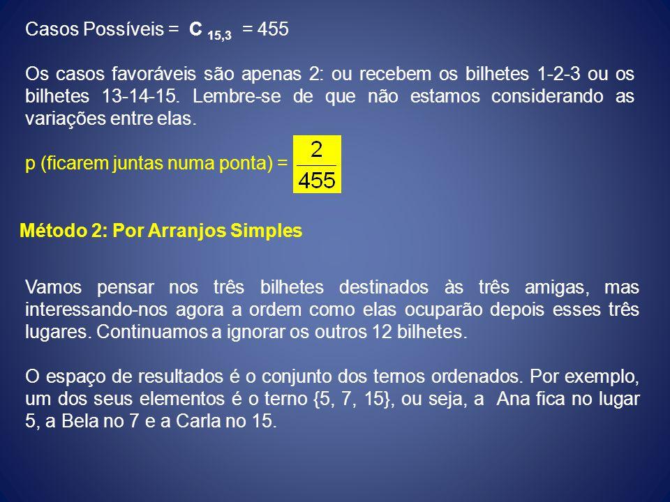 Casos Possíveis = C 15,3 = 455 Os casos favoráveis são apenas 2: ou recebem os bilhetes 1-2-3 ou os bilhetes 13-14-15. Lembre-se de que não estamos co