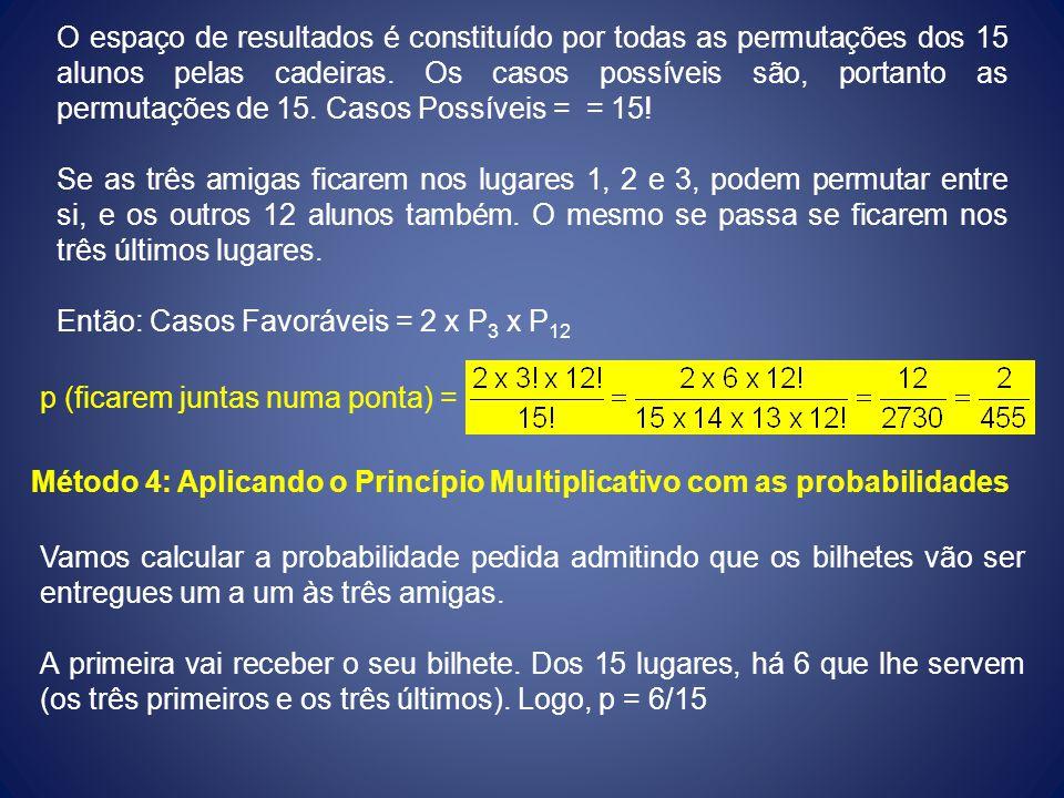 O espaço de resultados é constituído por todas as permutações dos 15 alunos pelas cadeiras. Os casos possíveis são, portanto as permutações de 15. Cas