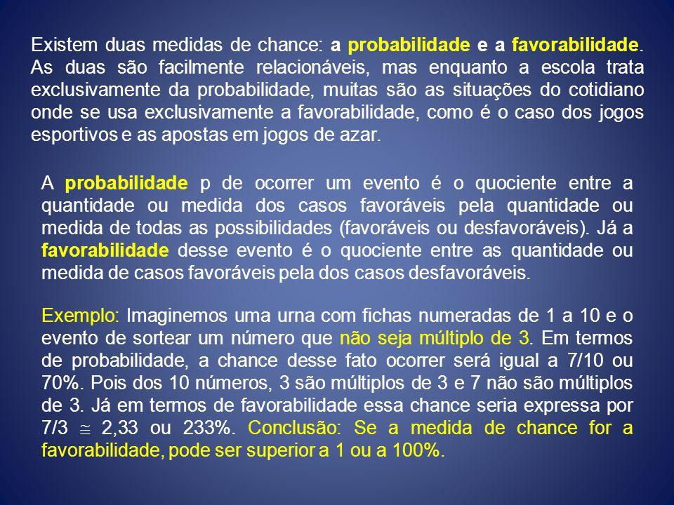 Existem duas medidas de chance: a probabilidade e a favorabilidade. As duas são facilmente relacionáveis, mas enquanto a escola trata exclusivamente d