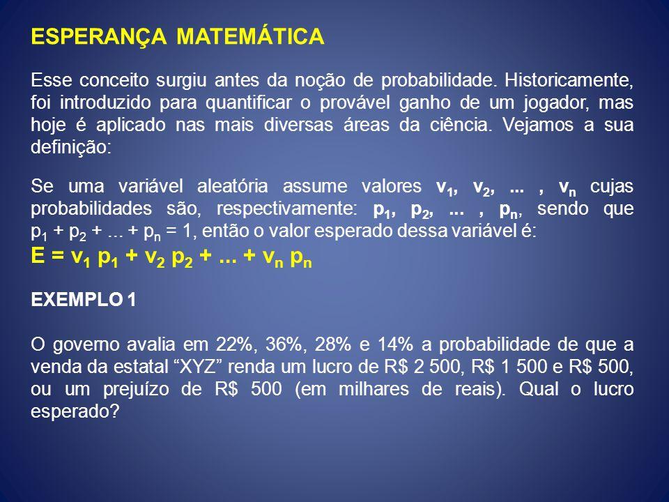 ESPERANÇA MATEMÁTICA Esse conceito surgiu antes da noção de probabilidade. Historicamente, foi introduzido para quantificar o provável ganho de um jog