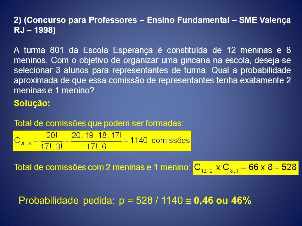 2) (Concurso para Professores – Ensino Fundamental – SME Valença RJ – 1998) A turma 801 da Escola Esperança é constituída de 12 meninas e 8 meninos. C