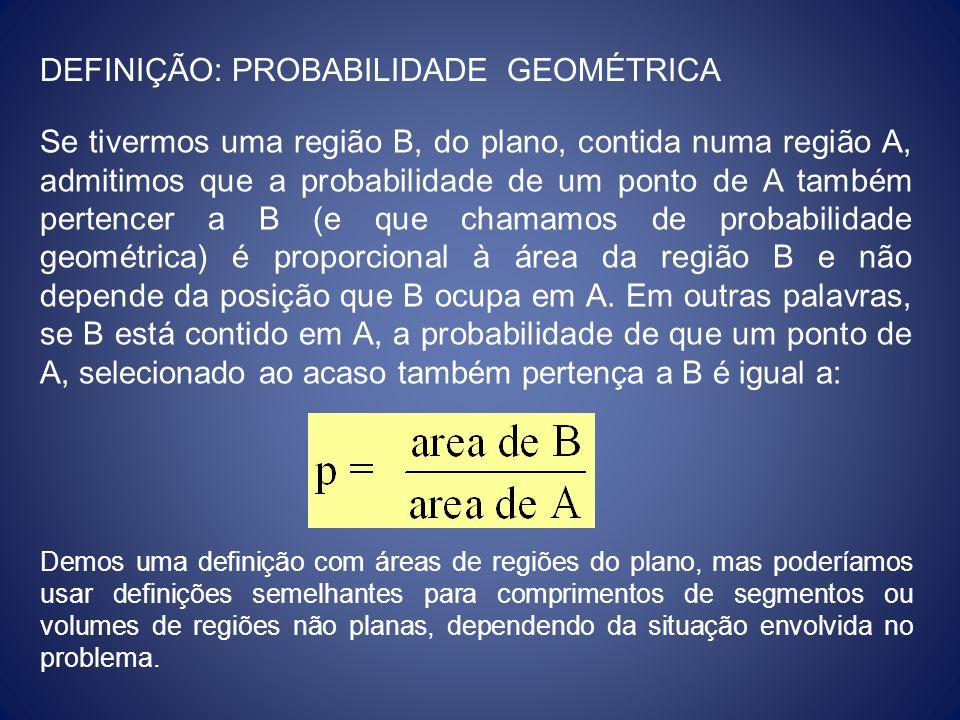 DEFINIÇÃO: PROBABILIDADE GEOMÉTRICA Se tivermos uma região B, do plano, contida numa região A, admitimos que a probabilidade de um ponto de A também p