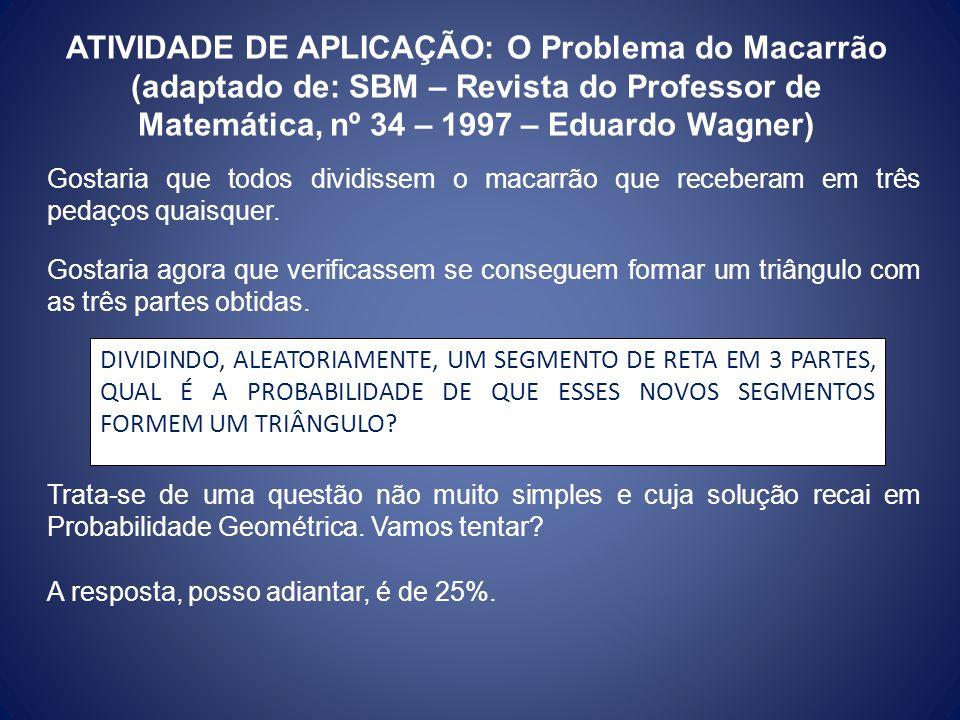 ATIVIDADE DE APLICAÇÃO: O Problema do Macarrão (adaptado de: SBM – Revista do Professor de Matemática, nº 34 – 1997 – Eduardo Wagner) Gostaria que tod