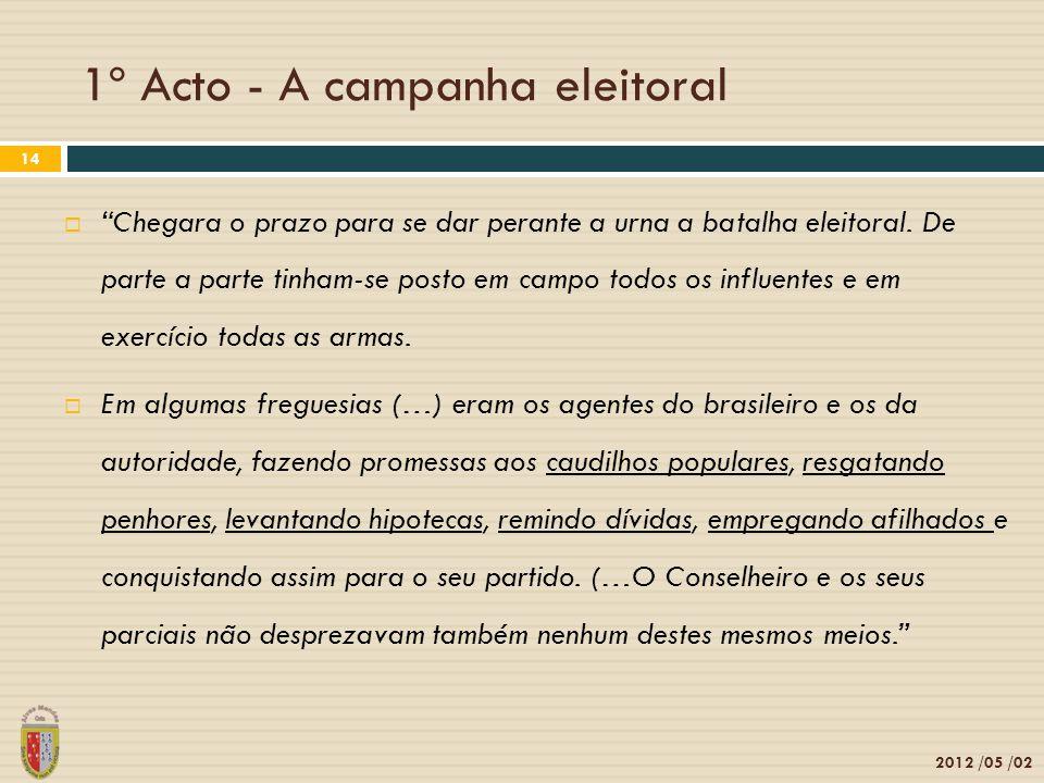 1º Acto - A campanha eleitoral 2012 /05 /02 14 Chegara o prazo para se dar perante a urna a batalha eleitoral.