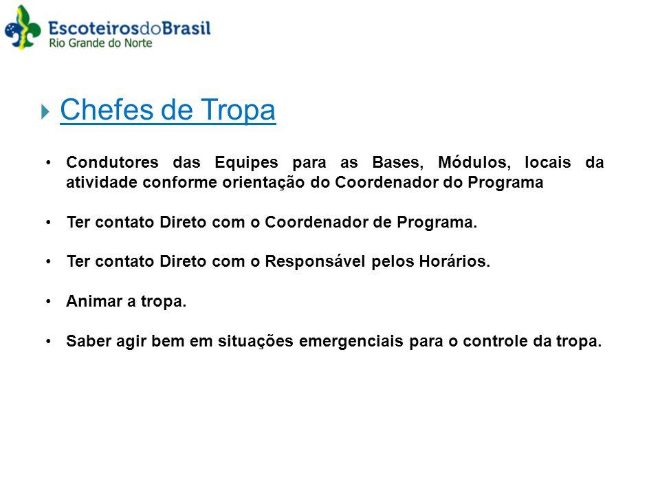 Chefes de Tropa Condutores das Equipes para as Bases, Módulos, locais da atividade conforme orientação do Coordenador do Programa Ter contato Direto c