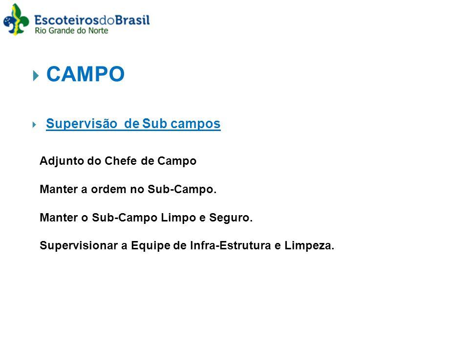 CAMPO Supervisão de Sub campos Adjunto do Chefe de Campo Manter a ordem no Sub-Campo.