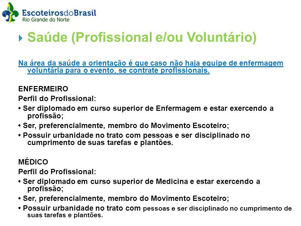 Saúde (Profissional e/ou Voluntário) Na área da saúde a orientação é que caso não haja equipe de enfermagem voluntária para o evento, se contrate profissionais.