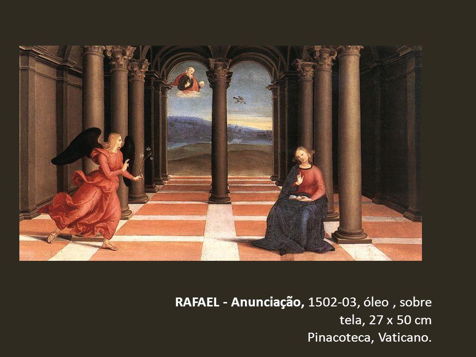 RAFAEL - Anunciação, 1502-03, óleo, sobre tela, 27 x 50 cm Pinacoteca, Vaticano.