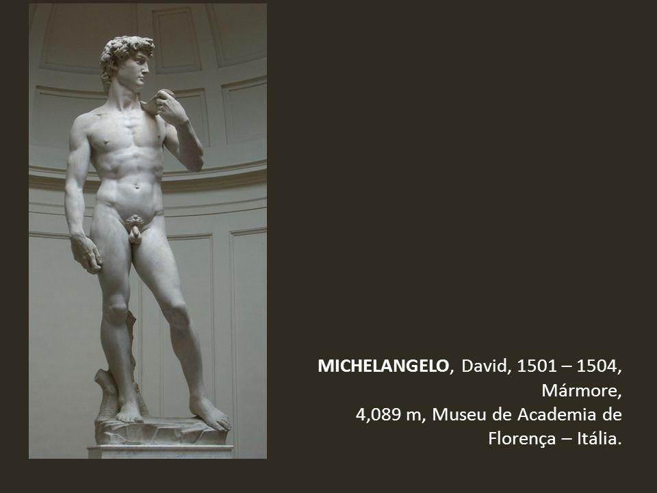 MICHELANGELO, David, 1501 – 1504, Mármore, 4,089 m, Museu de Academia de Florença – Itália.