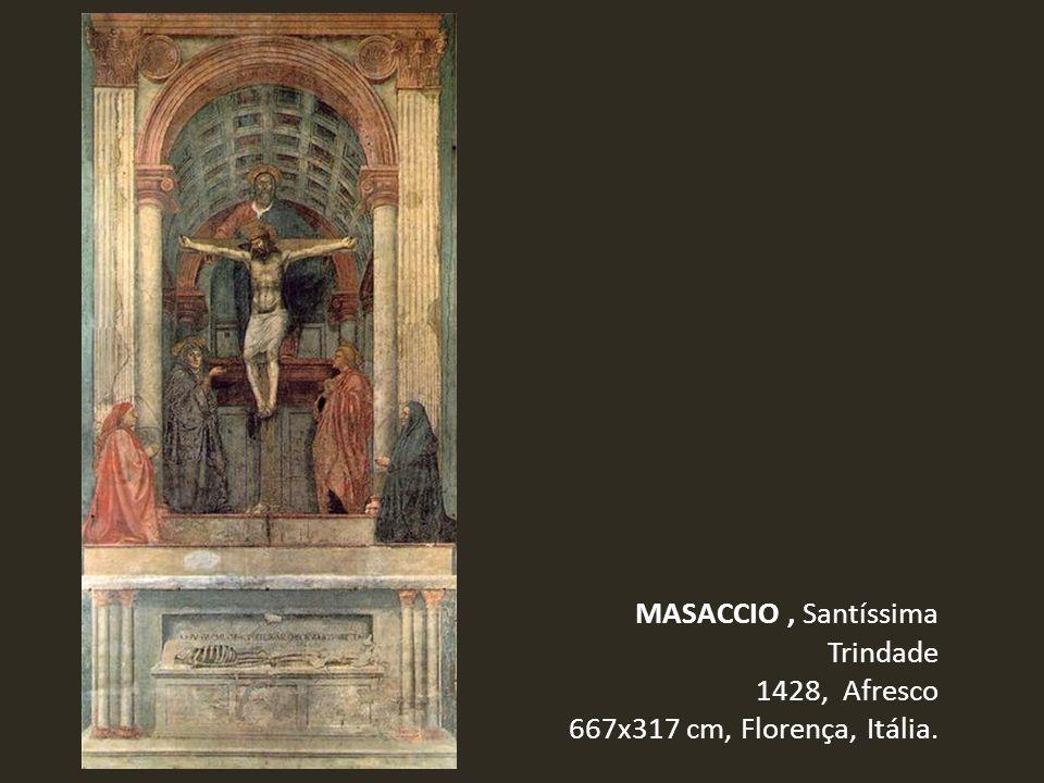 MASACCIO, Santíssima Trindade 1428, Afresco 667x317 cm, Florença, Itália.