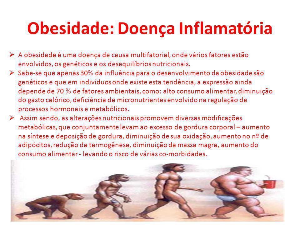 Obesidade: Doença Inflamatória A obesidade é uma doença de causa multifatorial, onde vários fatores estão envolvidos, os genéticos e os desequilíbrios