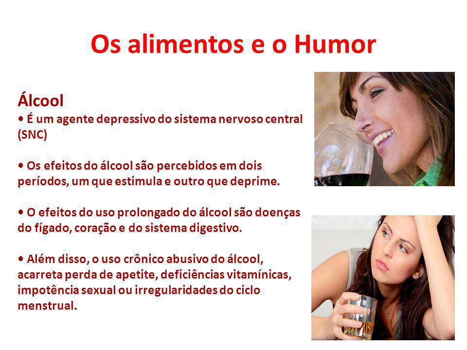 Os alimentos e o Humor Álcool É um agente depressivo do sistema nervoso central (SNC) Os efeitos do álcool são percebidos em dois períodos, um que est