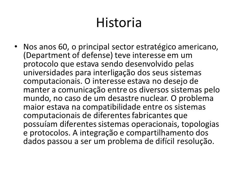 Historia Nos anos 60, o principal sector estratégico americano, (Department of defense) teve interesse em um protocolo que estava sendo desenvolvido pelas universidades para interligação dos seus sistemas computacionais.