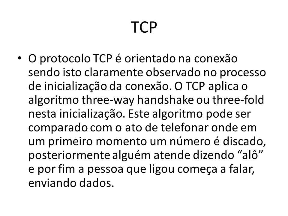 TCP O protocolo TCP é orientado na conexão sendo isto claramente observado no processo de inicialização da conexão.