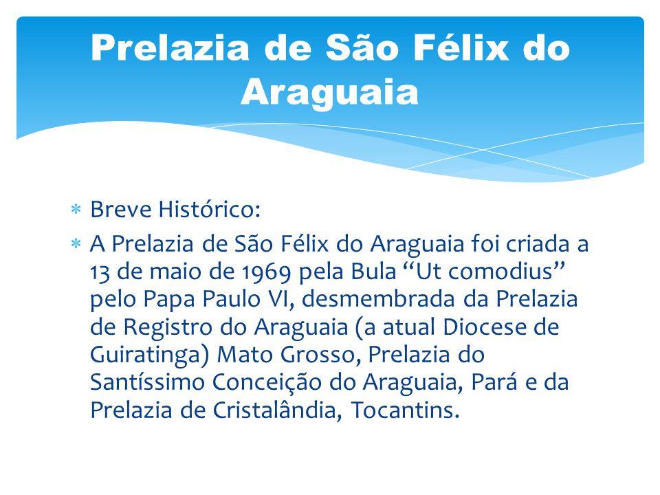 Breve Histórico: A Prelazia de São Félix do Araguaia foi criada a 13 de maio de 1969 pela Bula Ut comodius pelo Papa Paulo VI, desmembrada da Prelazia