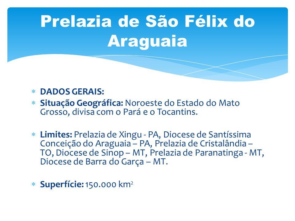DADOS GERAIS: Situação Geográfica: Noroeste do Estado do Mato Grosso, divisa com o Pará e o Tocantins. Limites: Prelazia de Xingu - PA, Diocese de San
