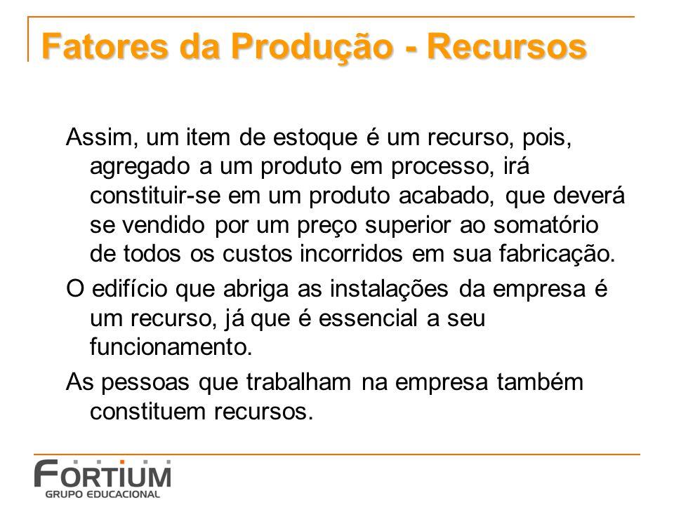 Fatores da Produção - Recursos Assim, um item de estoque é um recurso, pois, agregado a um produto em processo, irá constituir-se em um produto acabad