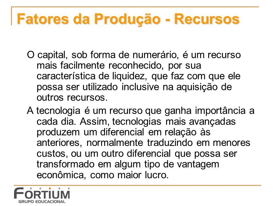 Fatores da Produção - Recursos O capital, sob forma de numerário, é um recurso mais facilmente reconhecido, por sua característica de liquidez, que fa