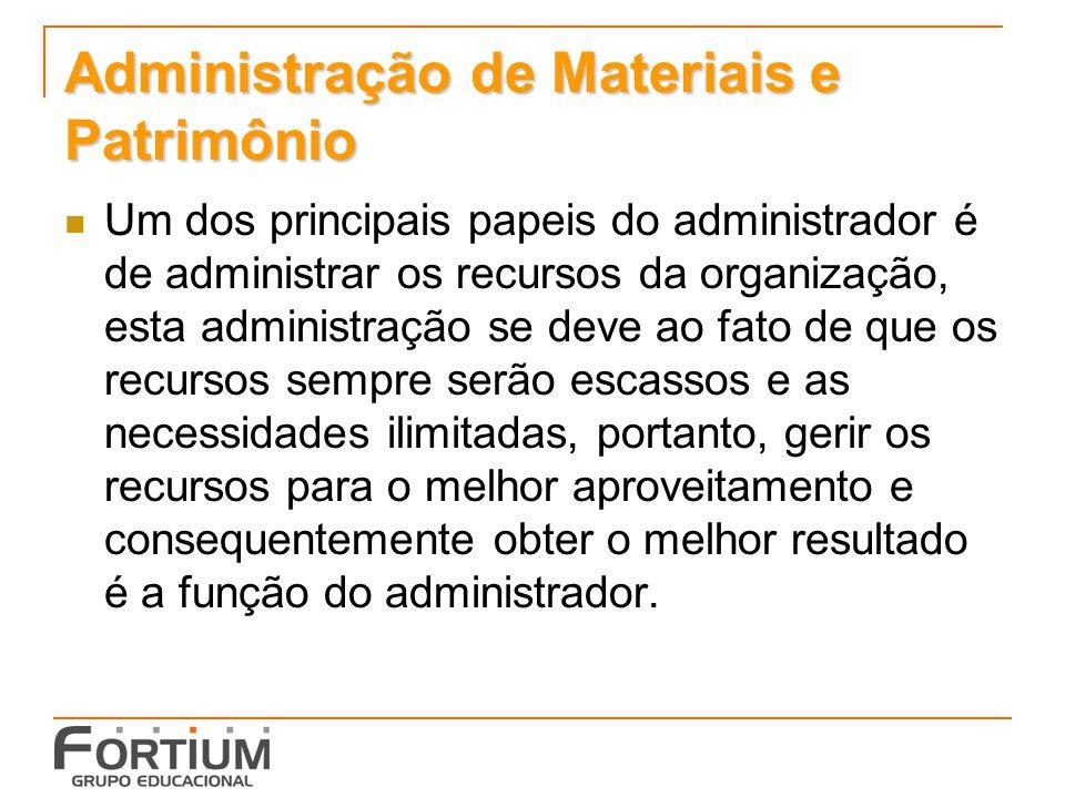 Administração de Materiais e Patrimônio Um dos principais papeis do administrador é de administrar os recursos da organização, esta administração se d