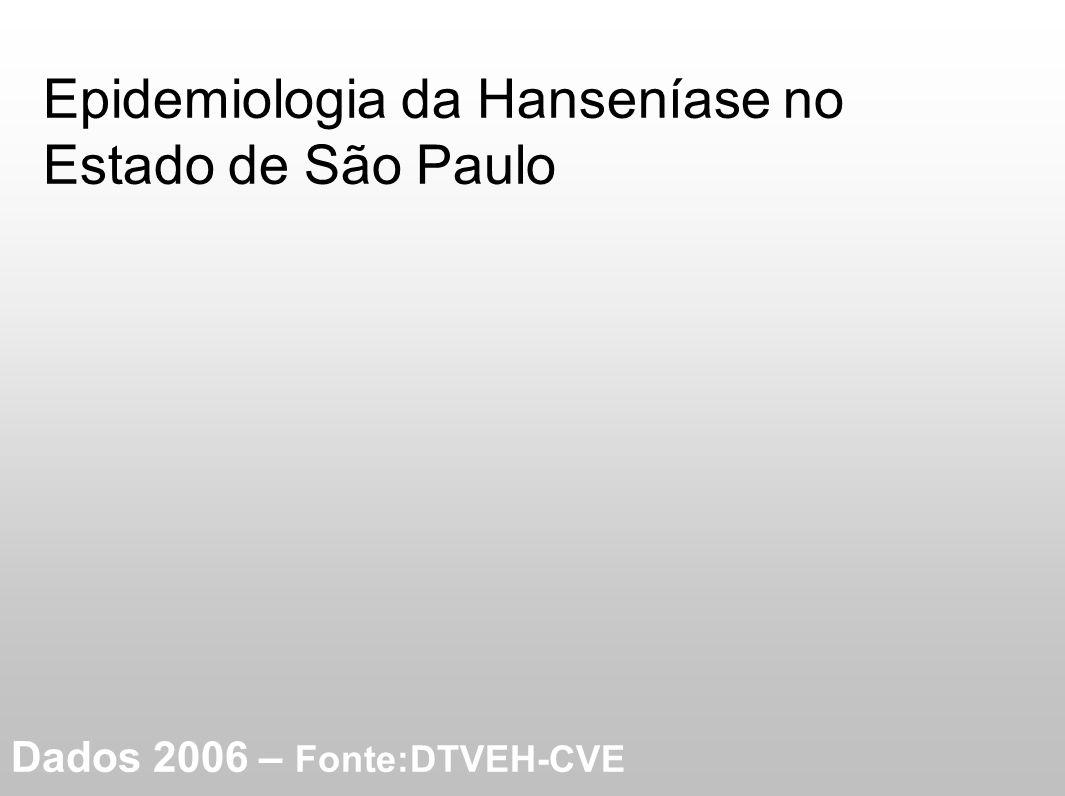Epidemiologia da Hanseníase no Estado de São Paulo Dados 2006 – Fonte:DTVEH-CVE