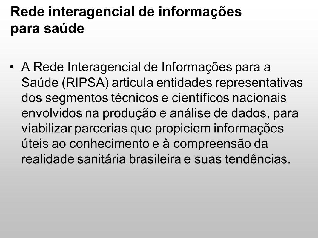 Rede interagencial de informações para saúde A Rede Interagencial de Informações para a Saúde (RIPSA) articula entidades representativas dos segmentos