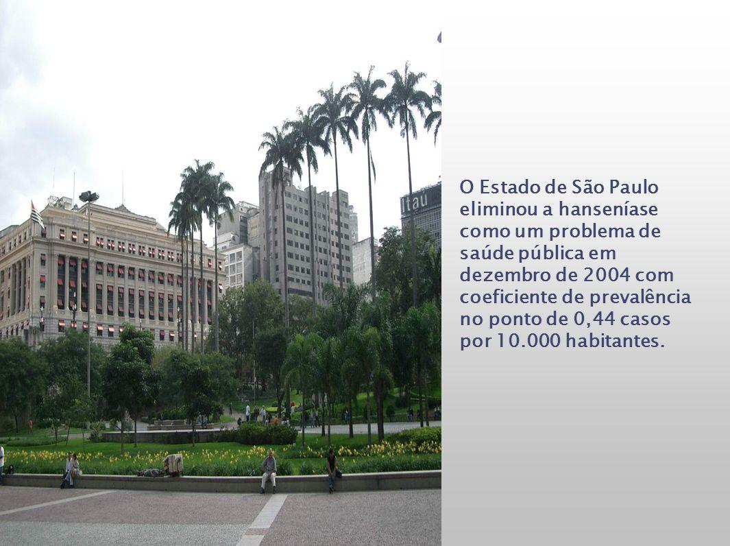 O Estado de São Paulo eliminou a hanseníase como um problema de saúde pública em dezembro de 2004 com coeficiente de prevalência no ponto de 0,44 caso